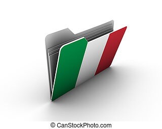 folder icon with flag of italy on white background