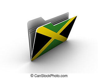 folder icon with flag of jamaica on white background