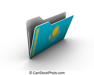 folder icon with flag of kazakhstan on white background