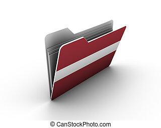 folder icon with flag of latvia on white background