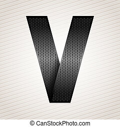 Letter metal ribbon - V