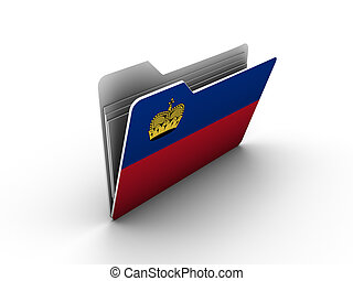 folder icon with flag of liechtenstein on white background
