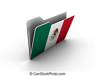 folder icon with flag of mexico on white background