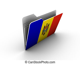 folder icon with flag of moldova on white background