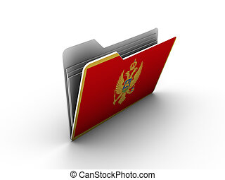 folder icon with flag of montenegro on white background