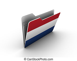folder icon with flag of netherlands on white background