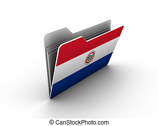 folder icon with flag of paraguay on white background