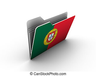 folder icon with flag of portugal on white background