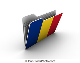 folder icon with flag of romania on white background
