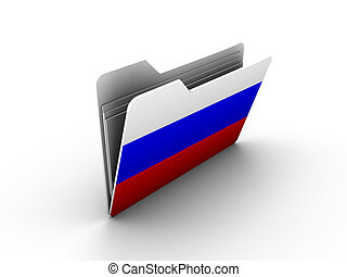 folder icon with flag of russia on white background