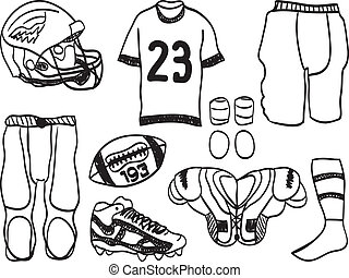 American Footbal Equipment - hand-drawn illustration of...