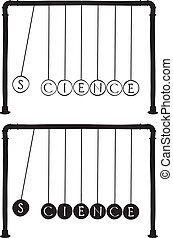 Newton's cradle with letters on balls