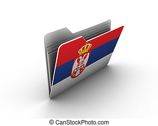folder icon with flag of serbia on white background