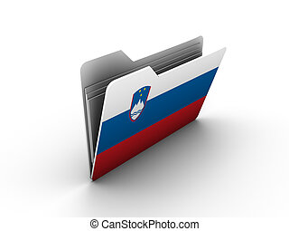 folder icon with flag of slovenia on white background