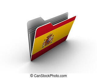 folder icon with flag of spain on white background