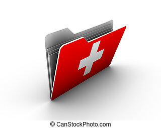 folder icon with flag of switzerland on white background