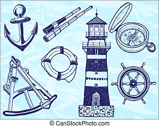Nautical collection - hand-drawn illustration of lighthouse,...