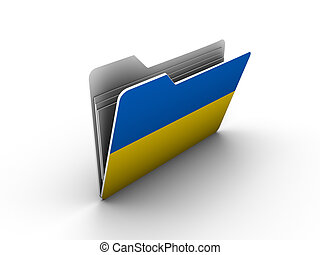 folder icon with flag of ukraine on white background
