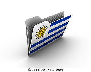 folder icon with flag of uruguay on white background