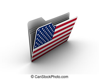 folder icon with flag of usa on white background