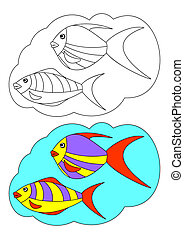 The picture for coloring. Fish.