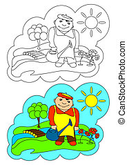 The picture for coloring. Gardener.