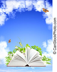 Book of nature On blue sky