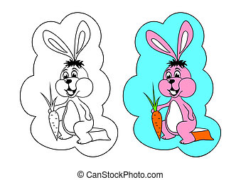 The picture for coloring. Hare.