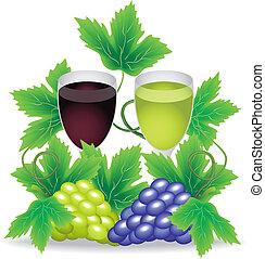 glasses of red and white wine grapes on a background of...