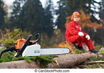 taglialegna, lavoratore, con, motosega, in, il, foresta