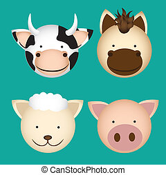 farm animal heads, containing cow, sheep, horse and pig