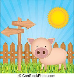illustration pig farm with wood fence, vector