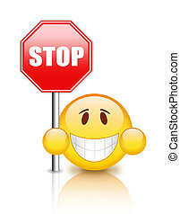 Stop sign with smiley
