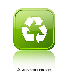 Recycled green button on white background