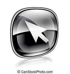 cursor icon black glass, isolated on white background