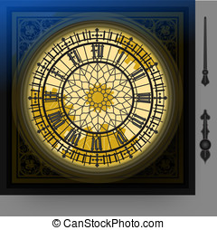 quadrant of victorian clock with la - Detailed illustration...