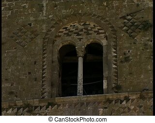 MELFI bell tower windows pan - Biforas windows of the Norman...