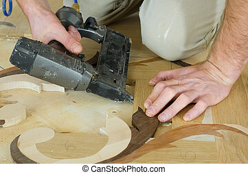 parquet - Laying of artistic parquet pneumatic