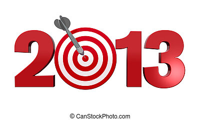 Next Target 2013. - Next New Year 2013. Number with red and...