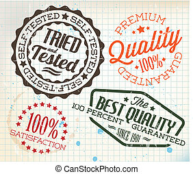 Vector retro vintage stamps on old squared paper - Vector...