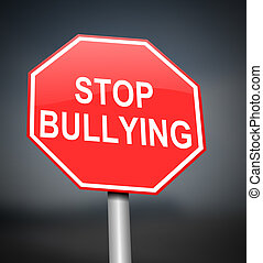 Stop bullying sign - Illustration depicting red and white...