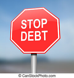 Stop debt concept. - Illustration depicting red and white...