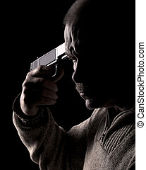 Suicide - Man holding gun to his head