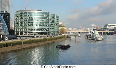 South bank of the Thames. Sunny. - Offices on the south bank...