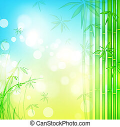 bamboo forest with blue sky - green bamboo forest over blue...
