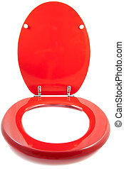 The red seat - Red toilet seat isolated on a white...