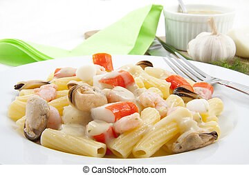 Seafood  pasta - Plate with italian pasta with fruit de mer