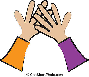 High Five - simple cartoon drawing of two hands giving a...