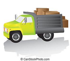 truck loaded with boxes for deliveries, vector illustration