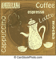 Vintage Stand for Coffee, cafe menu - grunge style - vector...